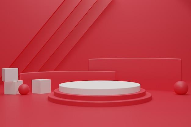 3d 렌더링 된 빨간 연단 배경