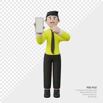 スマートフォンを保持している3dレンダリングされたセールスマン
