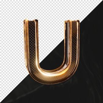 3d визуализации блестящая металлическая буква u