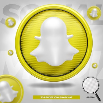 3d rendered snapchat icon in circle for composition