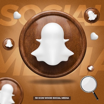 3d rendered snapchat icon front wooden circle