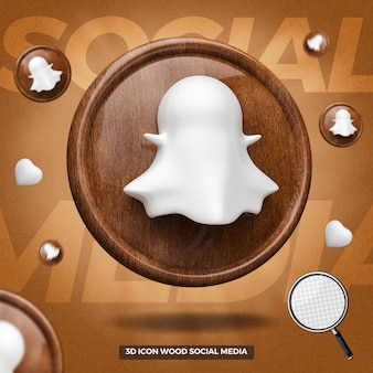 3d rendered snapchat icon left wooden circle