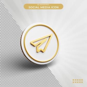 3d 렌더링된 전보 소셜 미디어 아이콘 개념