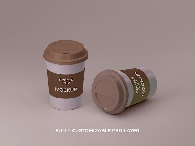 3d rendered two plastic coffee cup mockup design