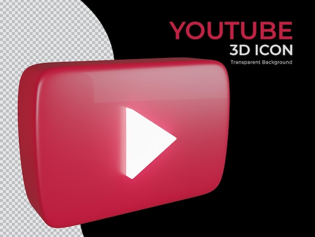 3d 렌더링 된 youtube 투명 배경 png 아이콘 상위 뷰
