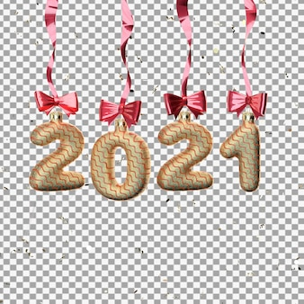 3d rendering of 2021 toys with ribbons isolated