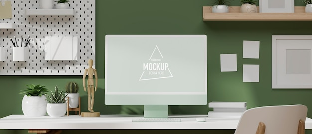 3d rendering, 3d illustration modern work space with computer monitor on the white desk with office supplies, modern office decoration and green wallpaper
