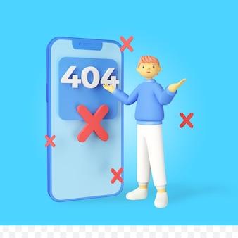 3d рендеринг концепции ошибки 404