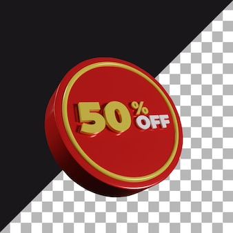 3d rendering 50 percentage off discount banner for shopping isolated