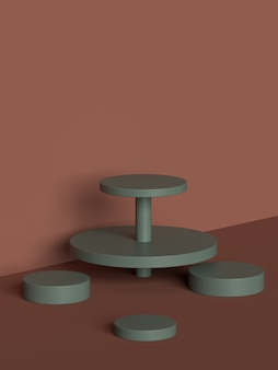3D rendering of abstract scene geometry shape podium for product display