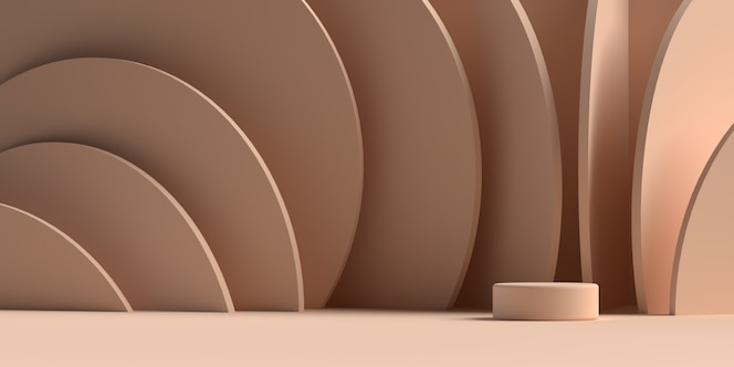 3d rendering of abstract scene geometry shape podium