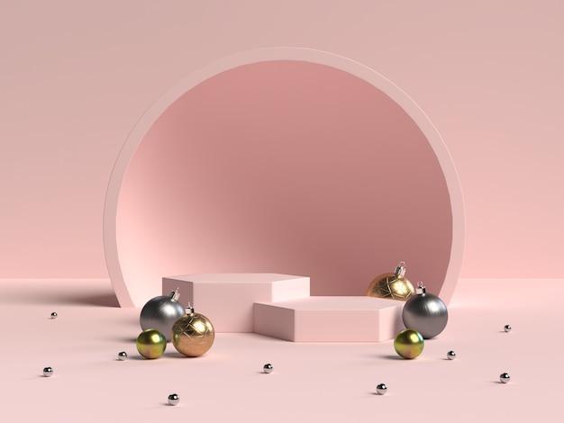 3d rendering of abstract scene geometry shape podium