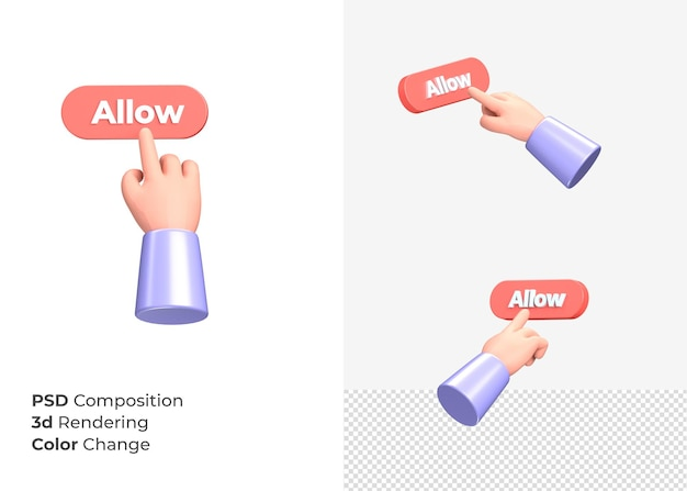 Кнопка разрешения 3d рендеринга с концепцией руки