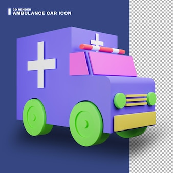 Значок автомобиля скорой помощи 3d рендеринга