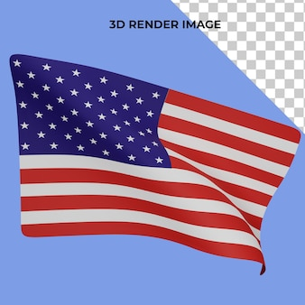 3d rendering of the american flag independence day concept