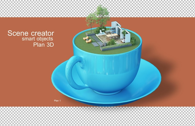 3d rendering of architectural plans in coffee cups