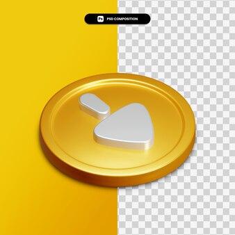 고립 된 황금 동그라미에 아이콘 아래로 3d 렌더링 화살표