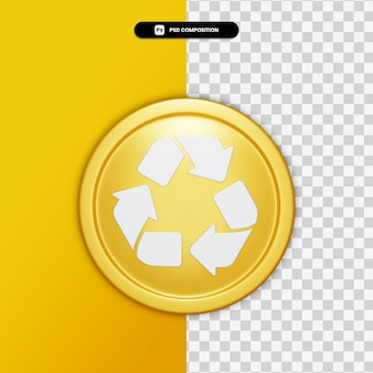 3d rendering arrow icon on golden circle isolated