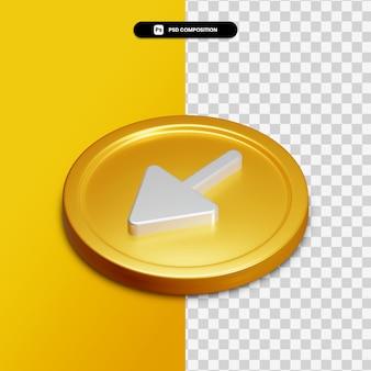 고립 된 황금 동그라미에 3d 렌더링 화살표 왼쪽 된 아이콘