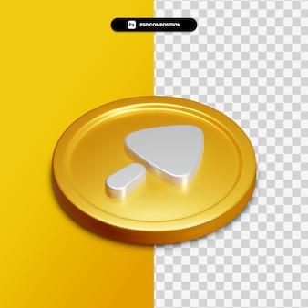 고립 된 황금 동그라미에 3d 렌더링 화살표 오른쪽 아이콘