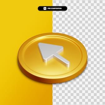 3d 렌더링 화살표 절연 황금 동그라미에 아이콘