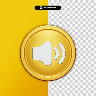 3d rendering audio icon on golden circle isolated