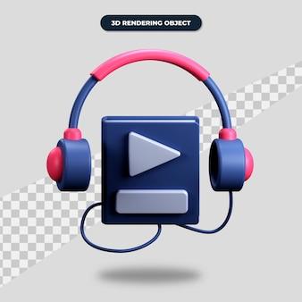 Значок аудиокниги 3d рендеринга, книга с наушниками