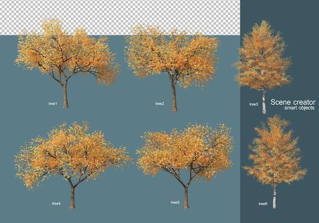 3d 렌더링 가을 나무 배열