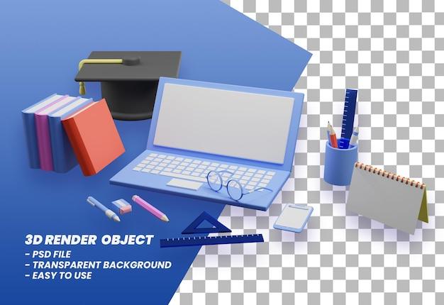 3d рендеринг обратно в школу иллюстрации премиум psd