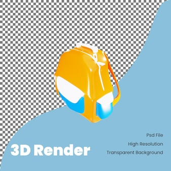 3d rendering bag icon for back to school