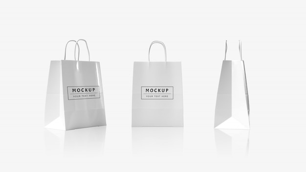 3d rendering bag with wire handles mockup