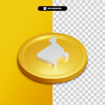 3d rendering basket icon on golden circle isolated