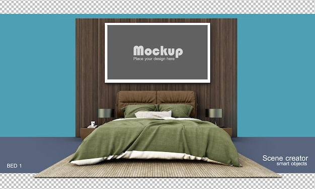 3d rendering of bed and furniture with mockup isolated