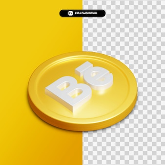 3d rendering behance icon on golden circle isolated