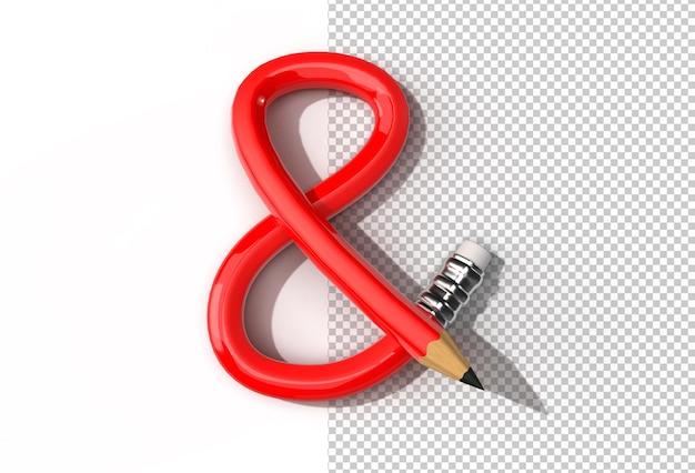 3d rendering of bent pencil font letter s logo transparent psd file.
