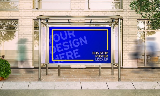 3d rendering big poster on bus stop