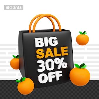 3d-рендеринг: большая распродажа на 30 процентов от текста