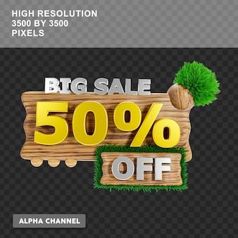 3d-рендеринг: большая распродажа: скидка 50 процентов на текст