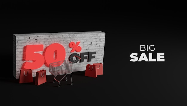 3d rendering big sale banner for web and social media post