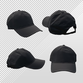 3d rendering of black cap hat template from various angles of perspective view