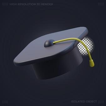 3d рендеринг черная выпускная шляпа иллюстрация