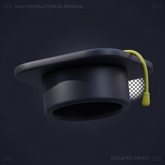 3d 렌더링 검은 졸업 모자 그림
