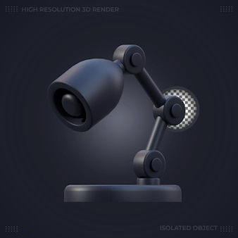 3d rendering black study lamp illustration