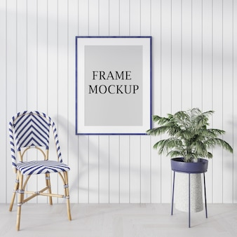 3d rendering blue picture frame mockup in bright room