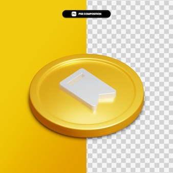 3d rendering bookmark icon on golden circle isolated