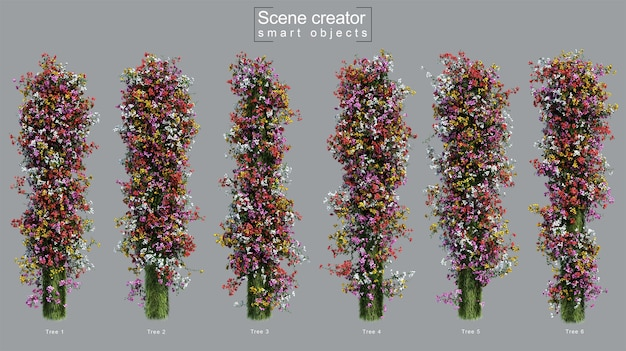 3d rendering of bougainvillea creeping on column scene creator