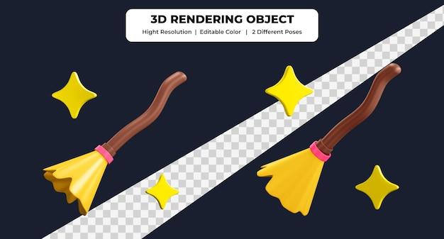 3dレンダリングほうきアイコンは2つの異なるポーズと編集可能な色を使用します