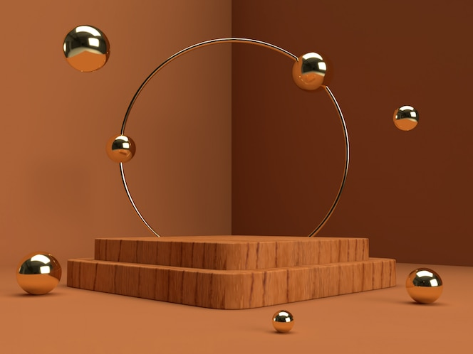 3d rendering brown and silver product stand on background.