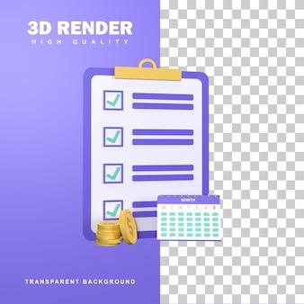 지출 계획과 3d 렌더링 예산 개념입니다.