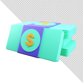 3d 렌더링 번들 현금 또는 돈 금융 저축 및 온라인 지불